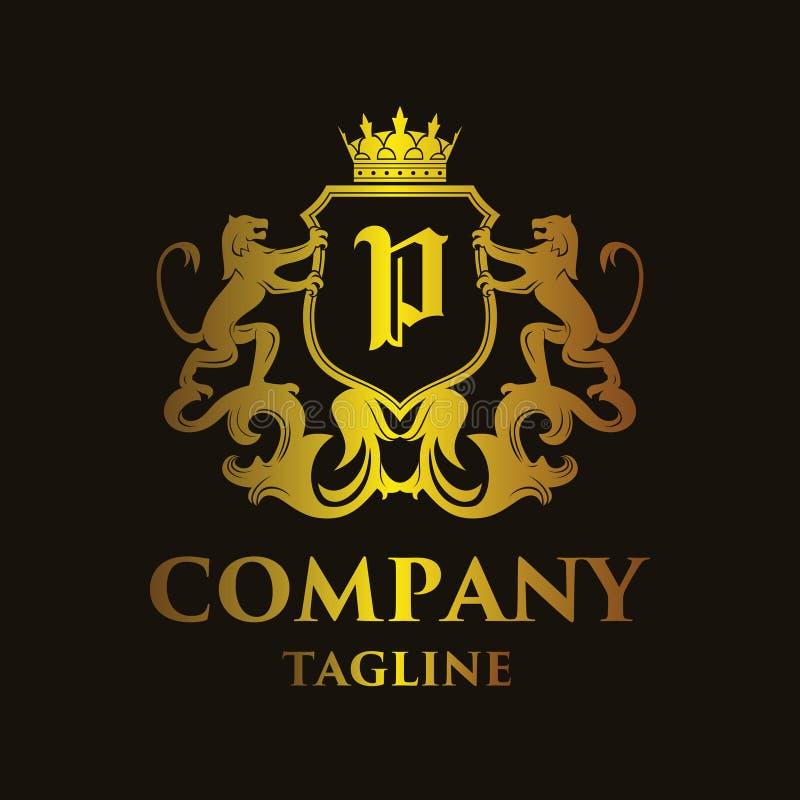 Logo di lusso del ` del ` P della lettera illustrazione di stock