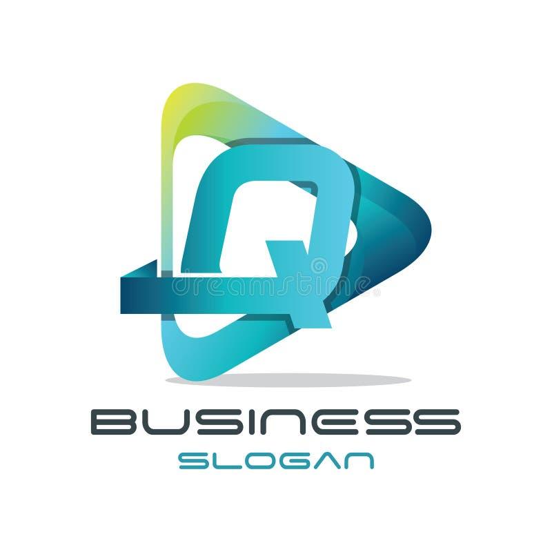 Logo di media della lettera Q illustrazione di stock