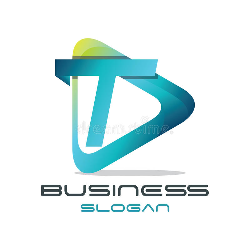 Logo di media della lettera T illustrazione di stock