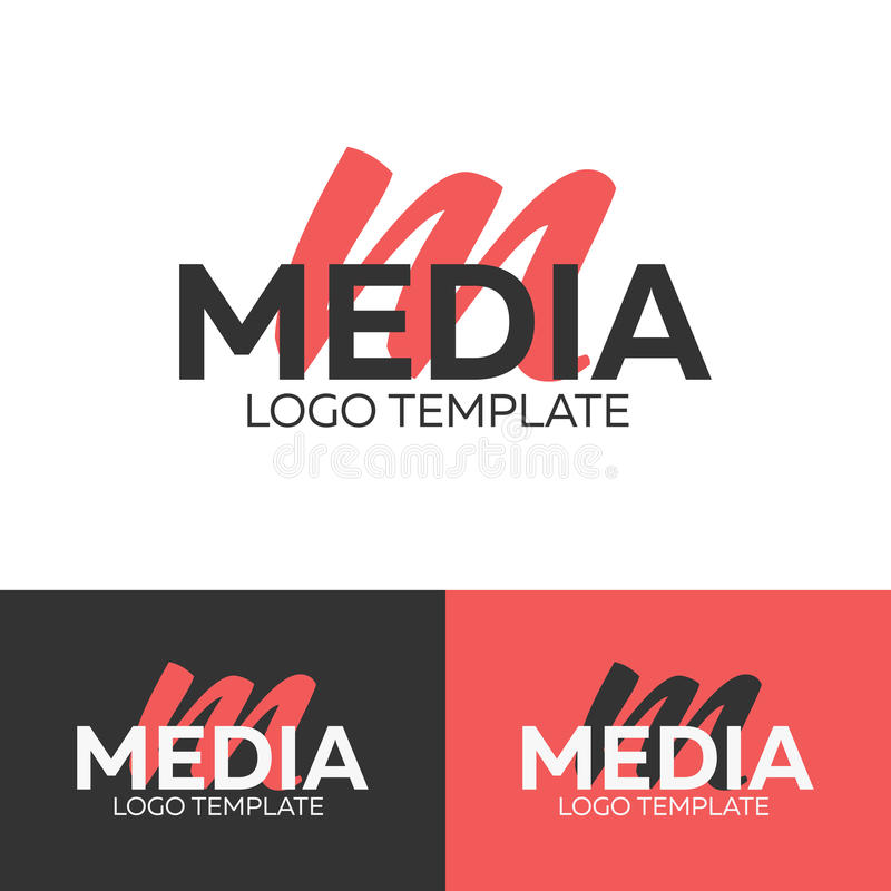 Logo di media Marchio della lettera m Modello di logo di vettore Concetto del Logotype illustrazione di stock