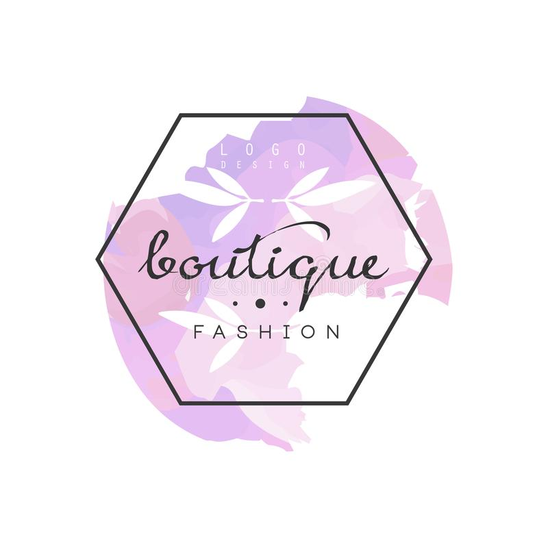 Logo di modo del boutique, distintivo per il negozio di vestiti, salone di bellezza o estetista royalty illustrazione gratis