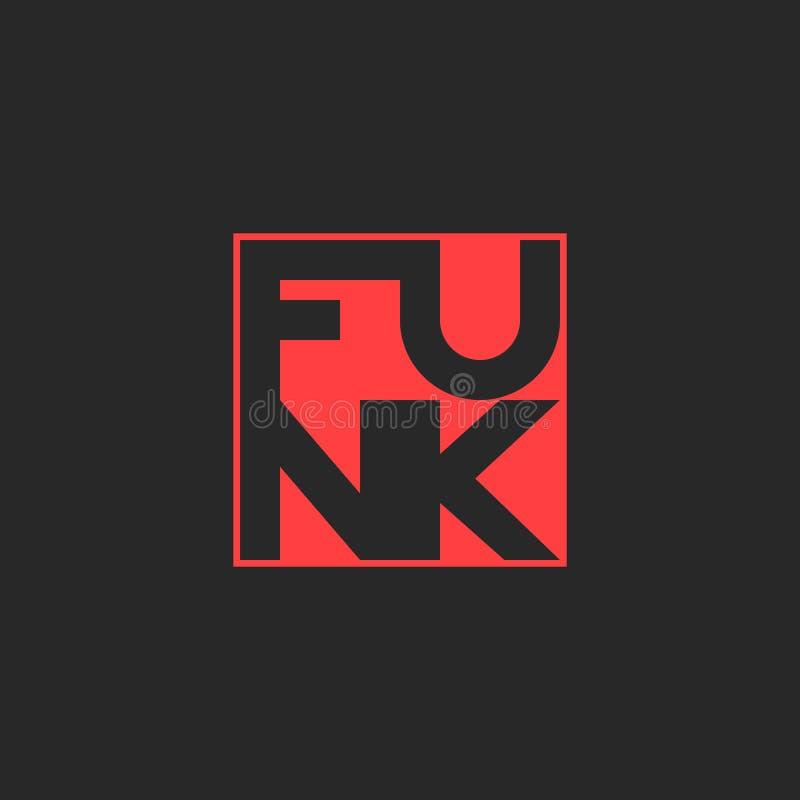 Logo di musica della musica funky Stampa musicale della maglietta che segna l'elemento con lettere rosso di progettazione grafica royalty illustrazione gratis