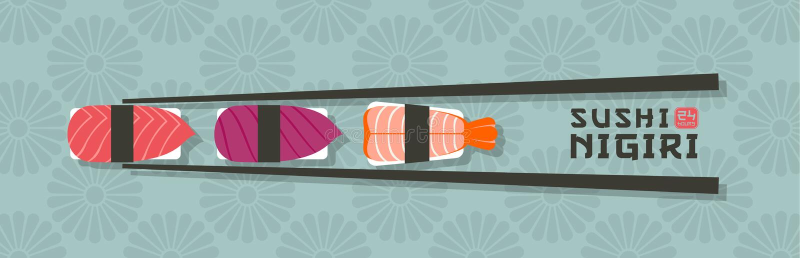 Logo di nigiri dei sushi Emblema del ristorante di sushi Nigiri con il pesce ed i gamberetti su un fondo giapponese dell'ornament illustrazione di stock