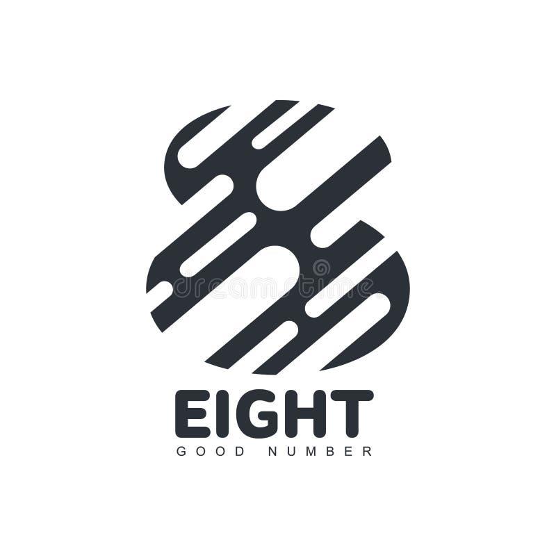 Logo di numero otto fatto dalle forme arrotondate tagliate della diagonale illustrazione di stock