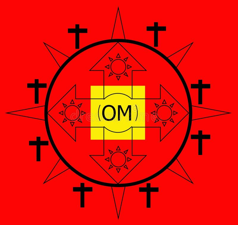 Logo di positivismo con il segno di crisma di parola del OM illustrazione di stock