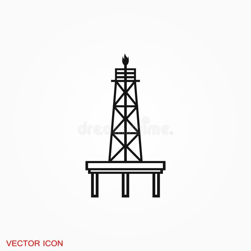 Logo di produzione del iconfuel della piattaforma petrolifera, illustrazione, simbolo del segno per progettazione illustrazione vettoriale