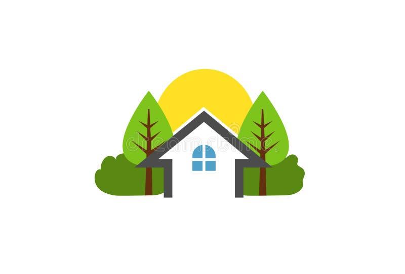 Logo di progettazione dell'azienda agricola della natura dell'albero della Camera della proprietà illustrazione di stock