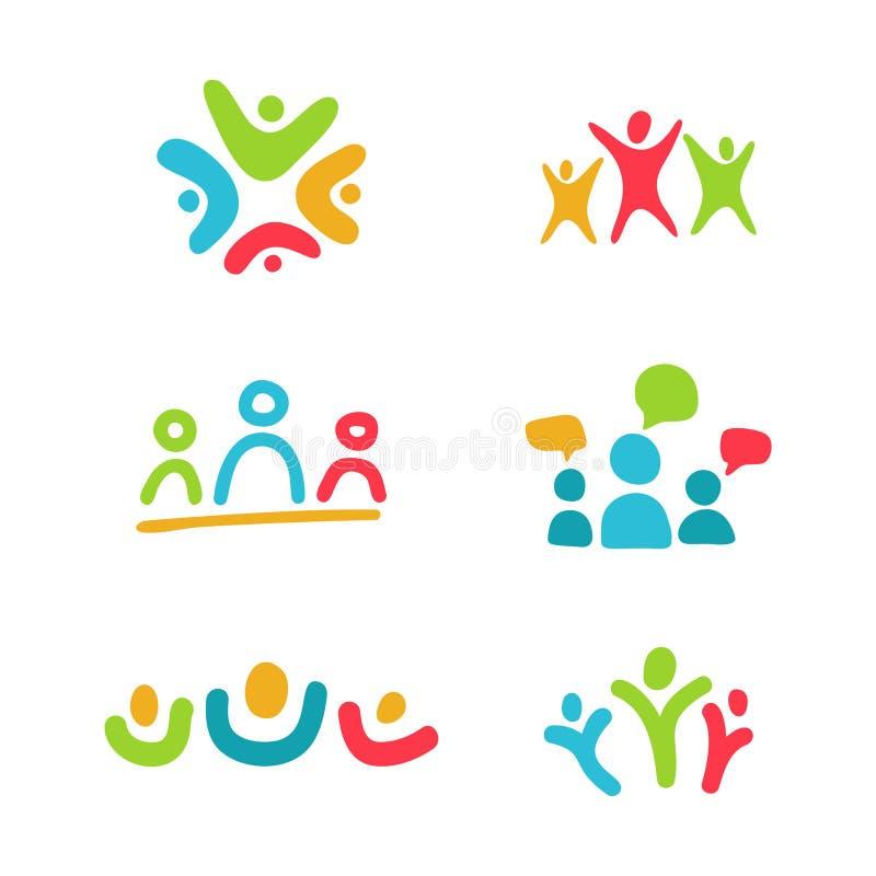 Logo di relazione ed insieme sociali dell'icona Simboli variopinti Famiglia, lavoro di squadra, comunicazione sociale e concetto  illustrazione vettoriale