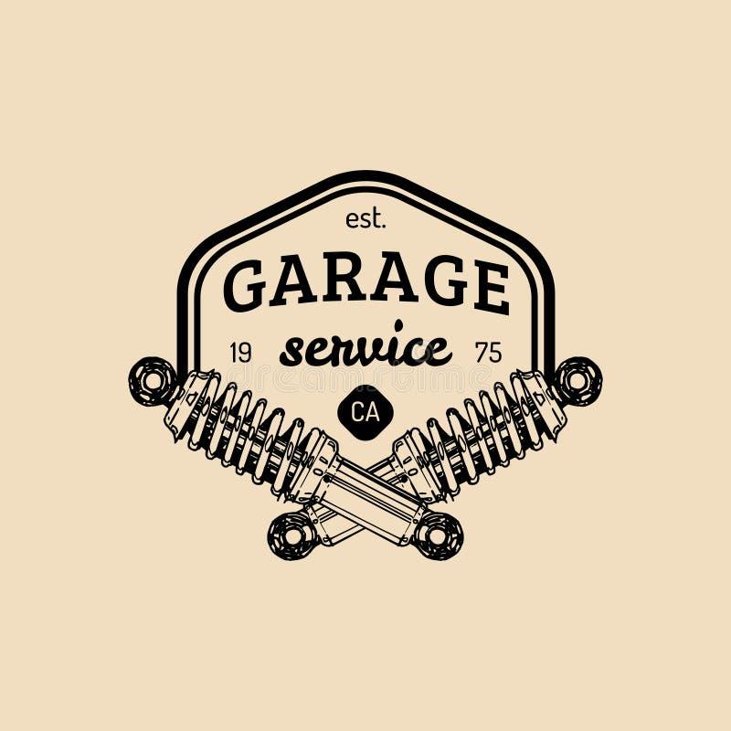 Logo di riparazione dell'automobile con l'illustrazione dell'ammortizzatore Vector il garage disegnato a mano d'annata, il manife illustrazione vettoriale