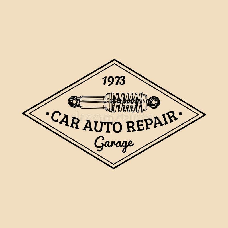 Logo di riparazione dell'automobile con l'illustrazione dell'ammortizzatore Vector il garage disegnato a mano d'annata, il manife illustrazione di stock