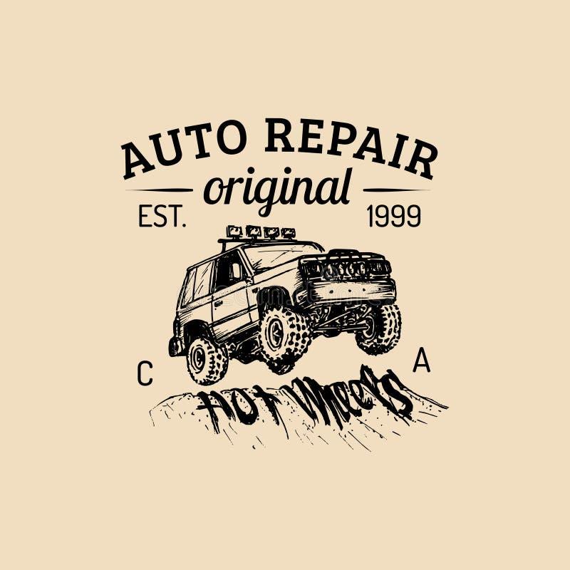 Logo di riparazione dell'automobile con l'illustrazione di SUV Vector il garage disegnato a mano d'annata, il manifesto automatic illustrazione vettoriale