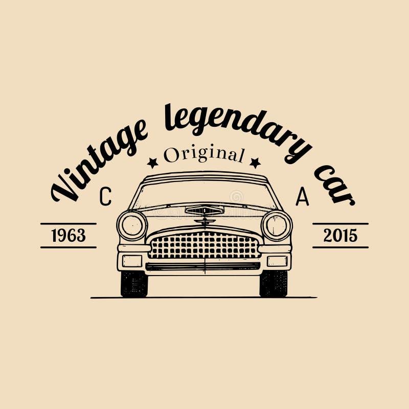 Logo di riparazione dell'automobile con la retro illustrazione dell'automobile Vector il garage disegnato a mano d'annata, il man illustrazione di stock