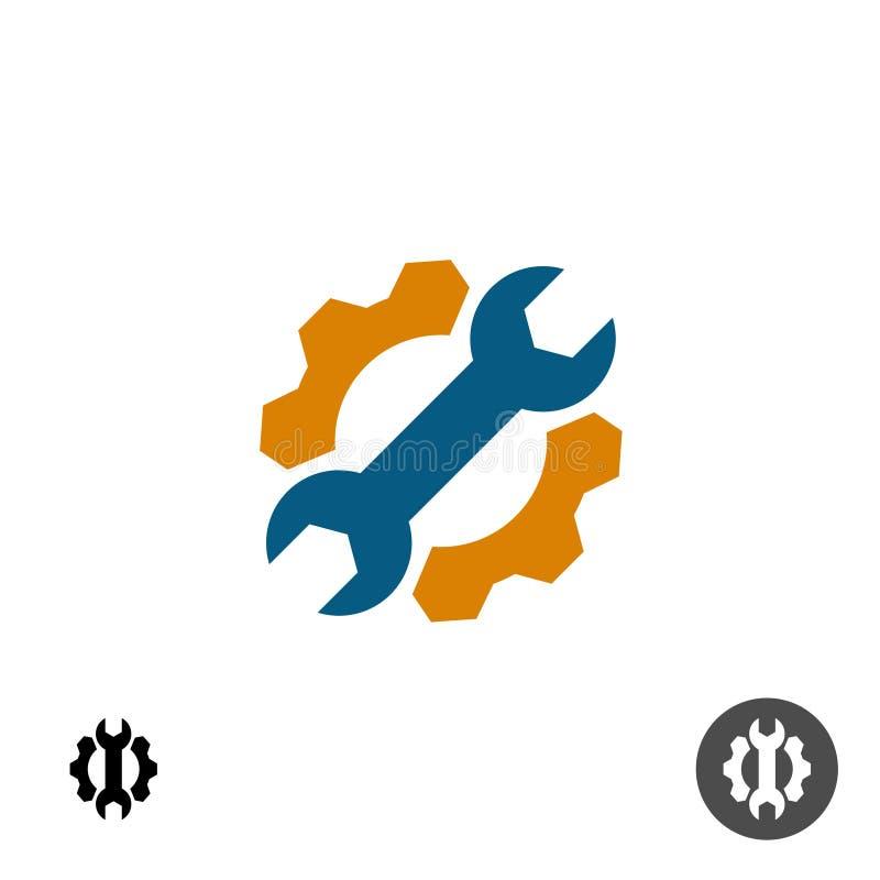 Logo di riparazione di servizio di tecnologia con l'ingranaggio e la chiave illustrazione vettoriale