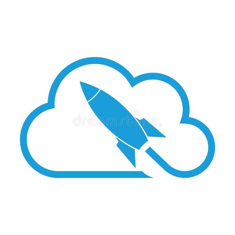 Logo di Rocket e della nuvola, del razzo e di partenza illustrazione di stock