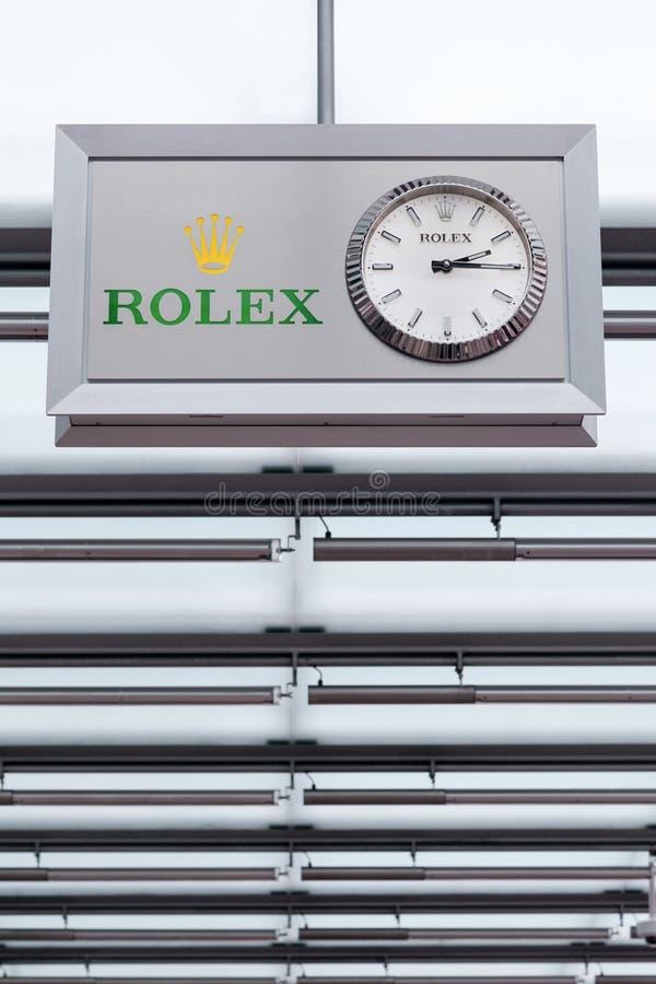 Logo di Rolex su un soffitto fotografia stock