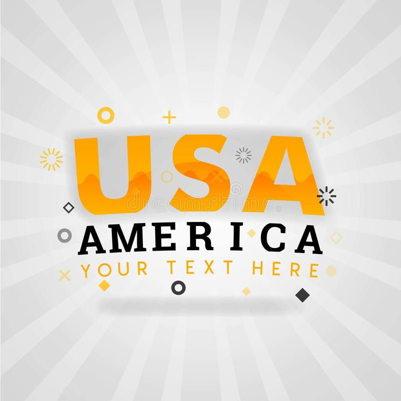 Logo di scrittura di U.S.A. America per le ricette economiche dell'americano facile illustrazione vettoriale