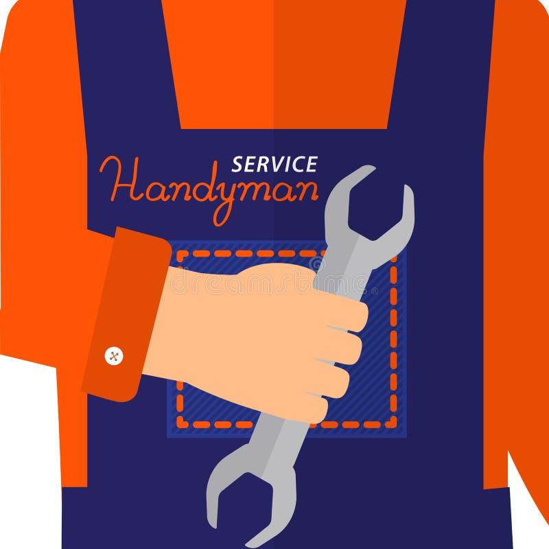 Logo di servizio del tuttofare Chiave a disposizione che funziona Servizio del tuttofare dell'iscrizione illustrazione di stock