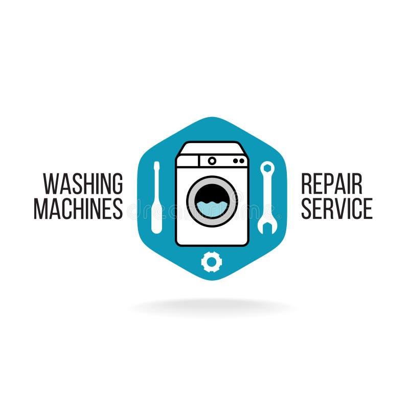Logo di servizio di riparazione della lavatrice illustrazione vettoriale