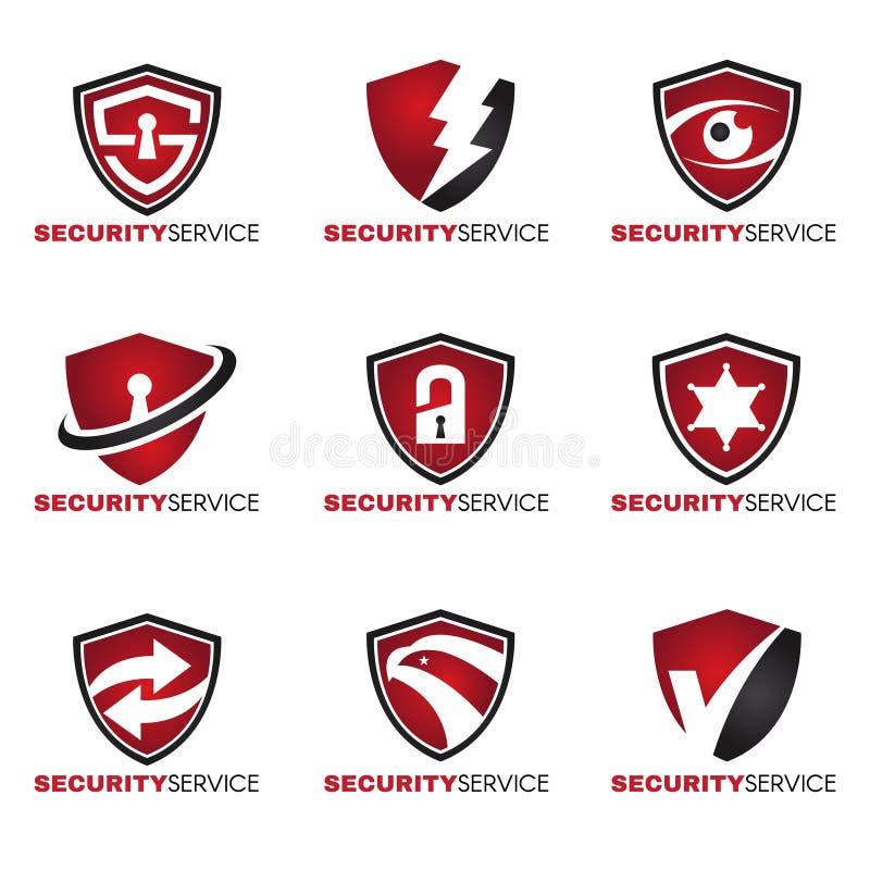Logo di sicurezza - 9 disegnano il tono rosso e nero illustrazione di stock