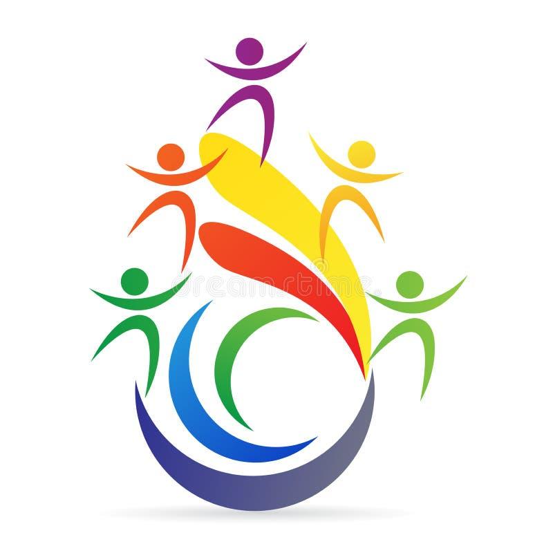 Logo di sostegno del vincitore di direzione di sfida di lavoro di squadra illustrazione di stock
