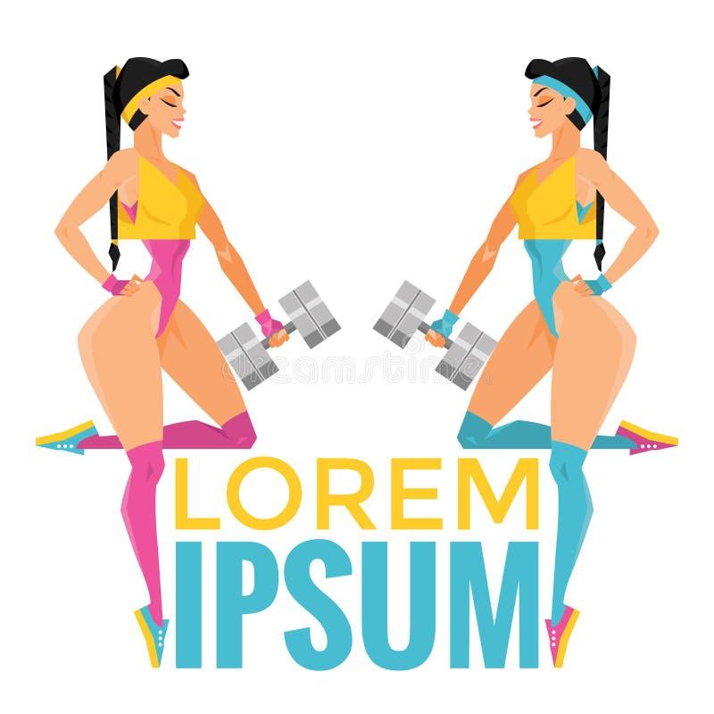 Logo di sport con due ragazze fotografia stock libera da diritti