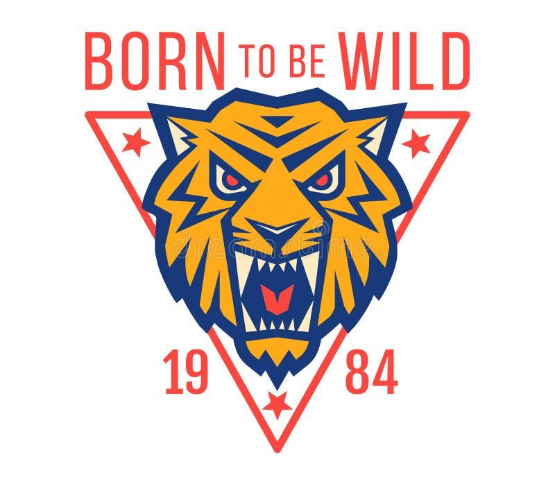Logo di sport con il od capo una tigre royalty illustrazione gratis