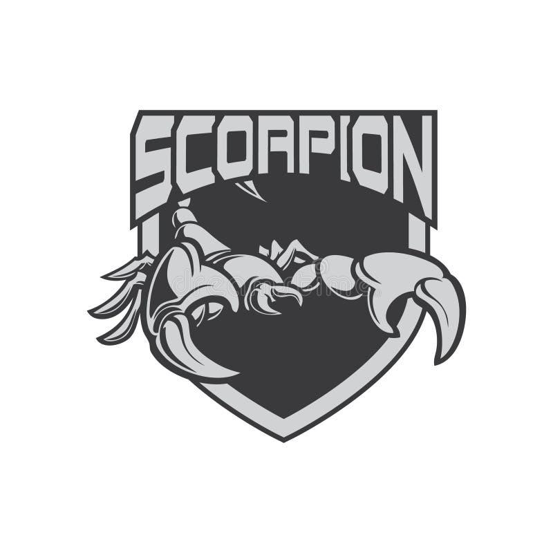 Logo di sport dell'icona e dello scorpione dell'illustrazione con lo schermo illustrazione vettoriale