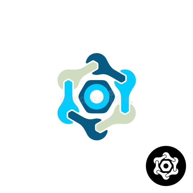 Logo di tecnologia con le chiavi ed il dado royalty illustrazione gratis