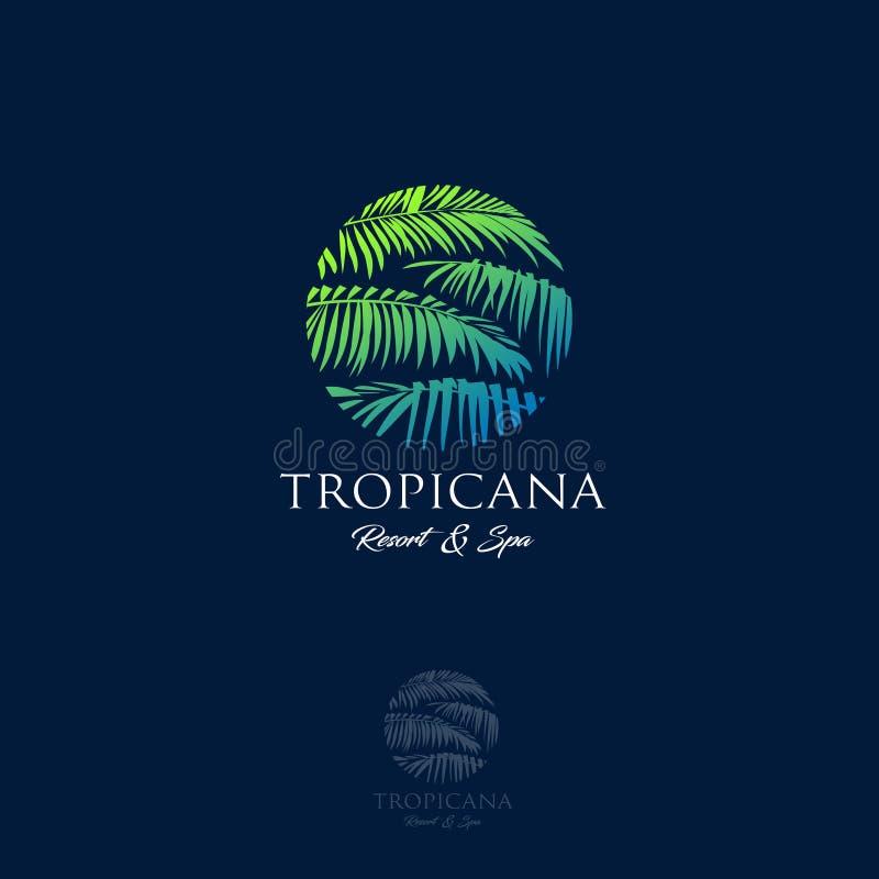 Logo di Tropicana Emblema della stazione termale e della località di soggiorno Cosmetici tropicali bellezza Foglie di palma in un royalty illustrazione gratis
