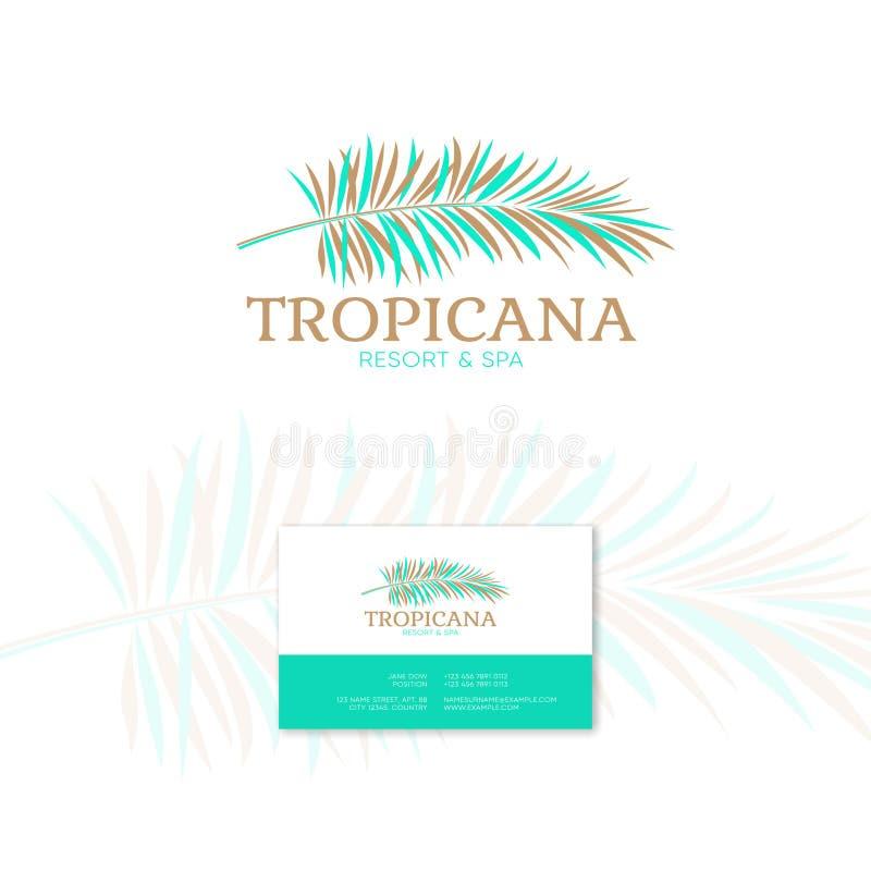 Logo di Tropicana Emblema della stazione termale e della località di soggiorno Cosmetici tropicali Foglie di palma e royalty illustrazione gratis