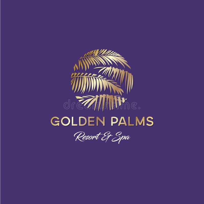 Logo di Tropicana Emblema della stazione termale e della località di soggiorno Cosmetici tropicali Foglie di palma e illustrazione vettoriale