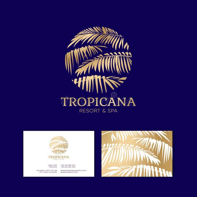 Logo di Tropicana Emblema della stazione termale e della località di soggiorno Cosmetici tropicali identità Biglietto da visita illustrazione di stock