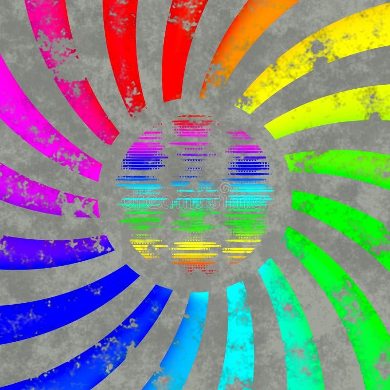 Logo di turbinio dell'arcobaleno - sole o globo illustrazione vettoriale