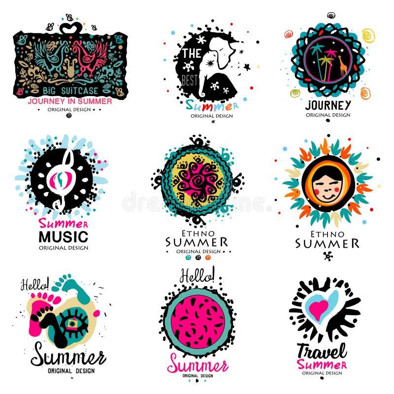 Logo di vacanze estive Elementi disegnati a mano per il logo di estate immagini stock libere da diritti