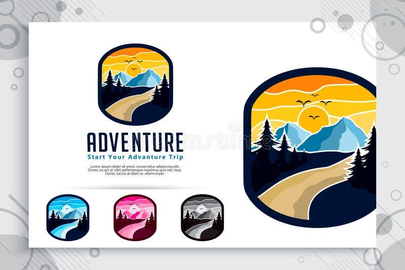 Logo di vettore di avventura della montagna con progettazione di massima del distintivo Montagna dell'illustrazione del modello c illustrazione di stock