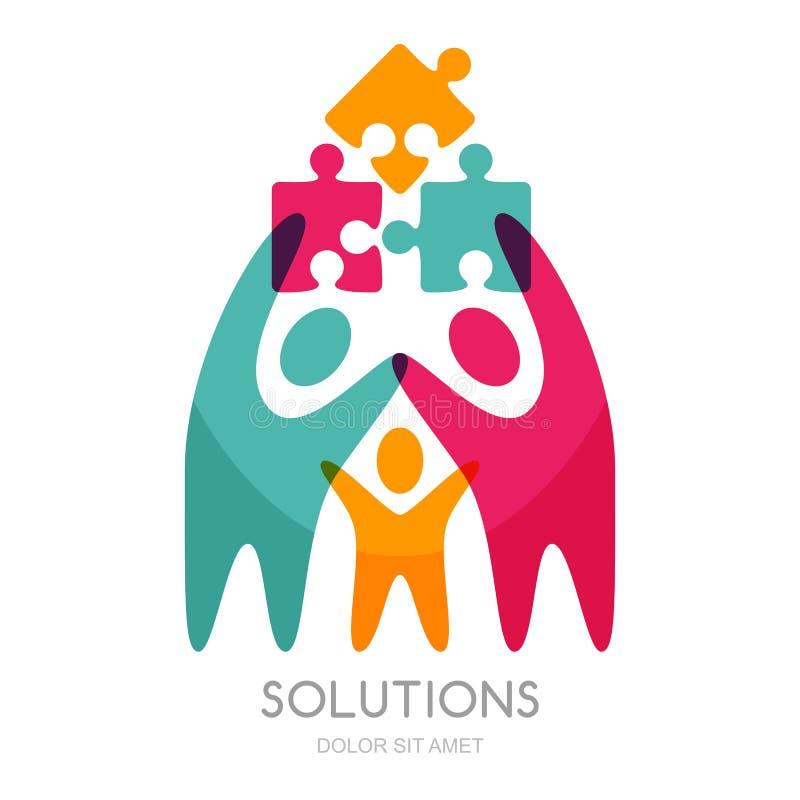 Logo di vettore con l'essere umano ed il puzzle illustrazione vettoriale