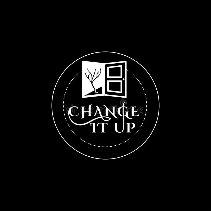 Logo di vettore del cambiamento Emblema personale di sviluppo Preparazione del segno illustrazione di stock