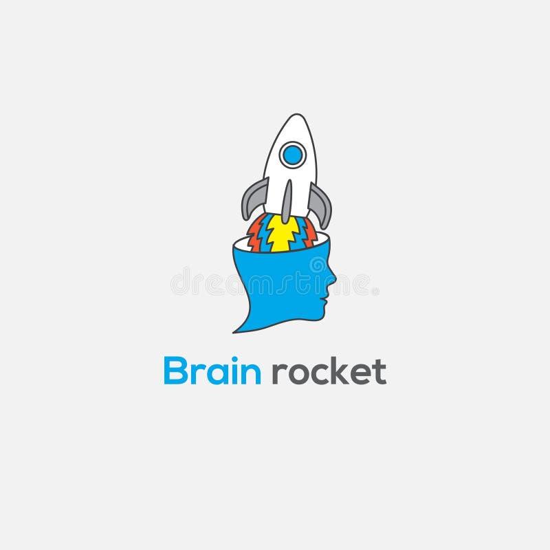 Logo di vettore del cervello Illustrazione del razzo del cervello Segno dell'emblema di creatività, simbolo Simbolo di pensiero royalty illustrazione gratis