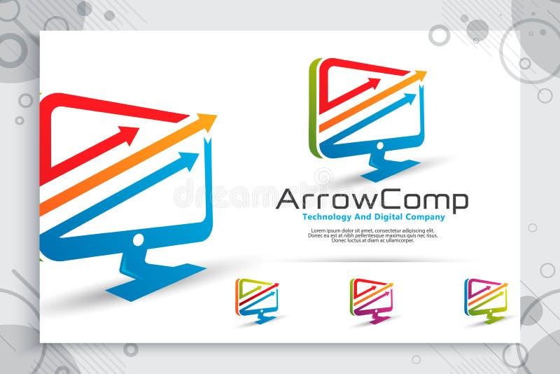 Logo di vettore del computer della freccia con progettazione di massima moderna, illustrazione del computer come simbolo di tecno royalty illustrazione gratis
