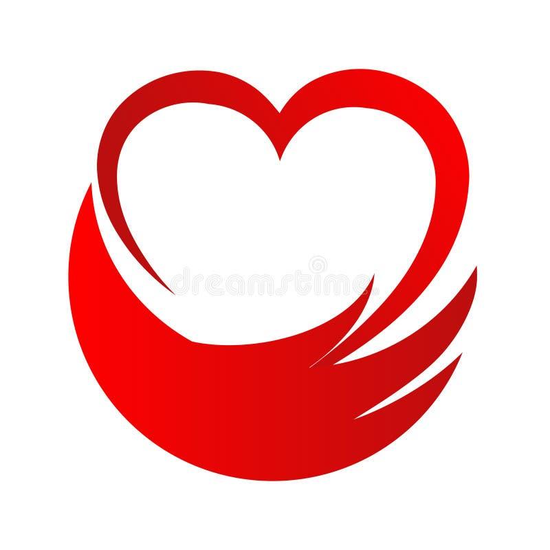 Logo di vettore dell'estratto di aiuto della mano del cuore di amore, illustra di riserva di vettore illustrazione di stock