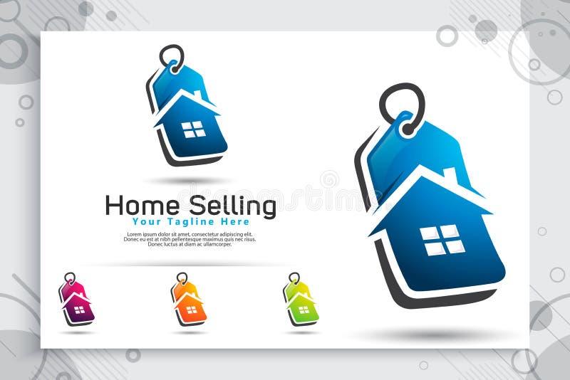Logo di vettore dell'etichetta di prezzo domestico con il concetto moderno e semplice di stile per il negozio online di applicazi illustrazione di stock