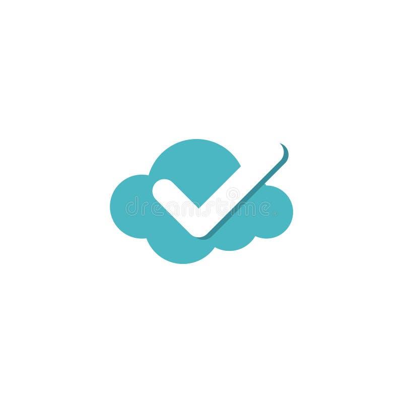 Logo di vettore dell'icona del segno di spunta della nuvola royalty illustrazione gratis