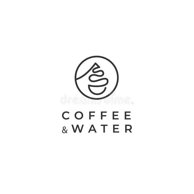 Logo di vettore della bibita e del caff? Logo del caff? Logo della tazza e della goccia di acqua di caff royalty illustrazione gratis