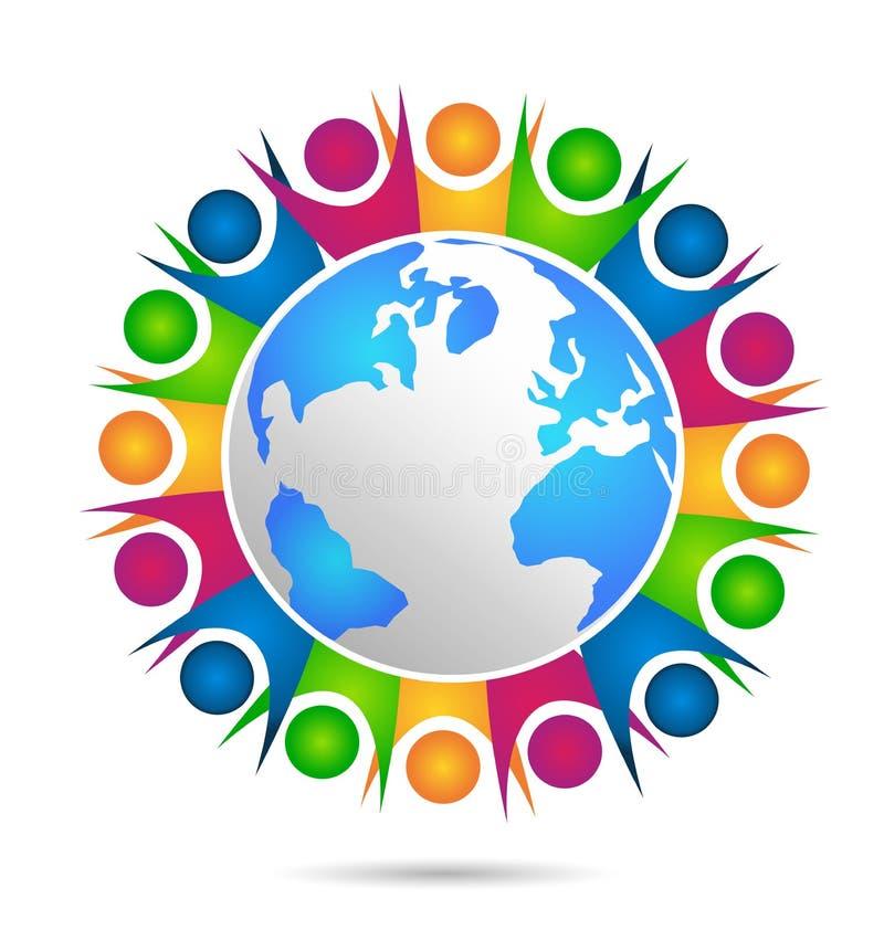 Logo di vettore della gente del mondo di unità royalty illustrazione gratis