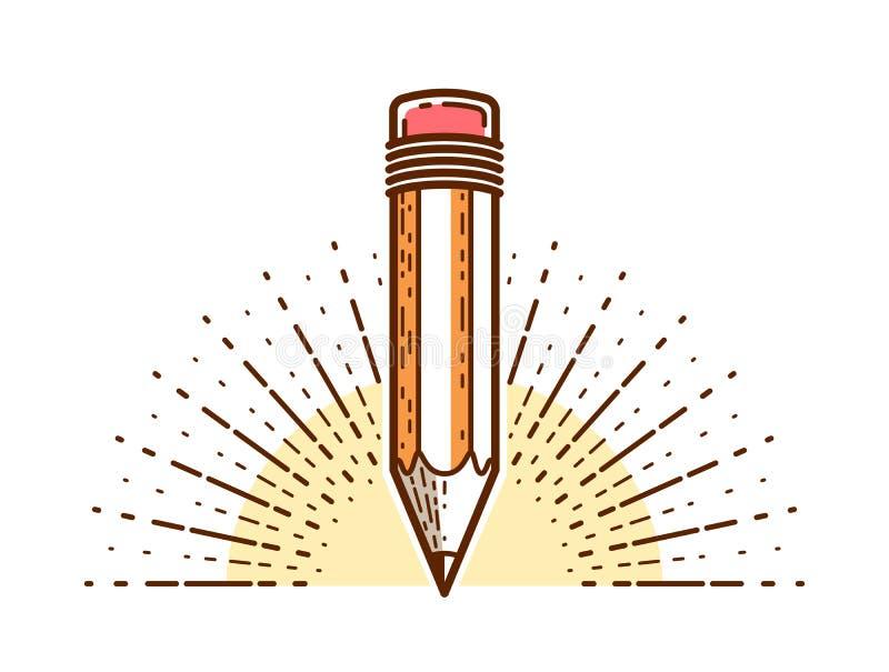 Logo di vettore della matita o icona di conoscenza di scienza o di istruzione, di arte e di progettazione illustrazione vettoriale