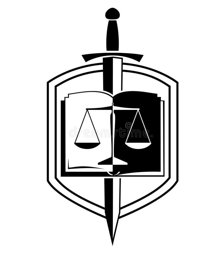 Logo di vettore dello studio legale con lo schermo e la spada dell'equilibrio fotografia stock
