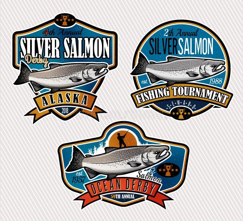 Logo di vettore di pesca Icona di Salmon Fish royalty illustrazione gratis