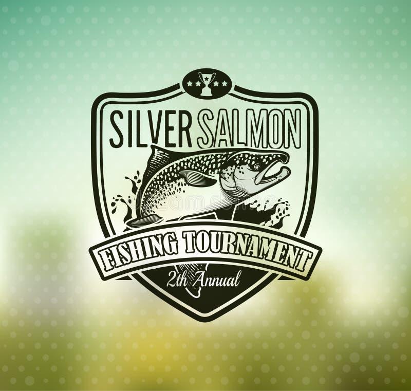 Logo di vettore di pesca Icona di Salmon Fish illustrazione vettoriale