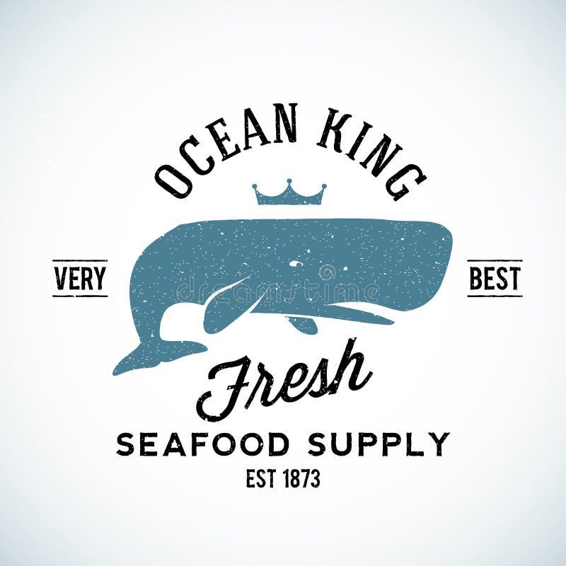 Logo di vettore di re Seafood Supplyer Vintage dell'oceano illustrazione vettoriale
