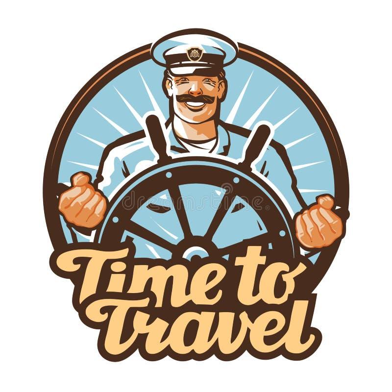 Logo di vettore di viaggio viaggio, marinaio, icona di capitano di nave illustrazione vettoriale